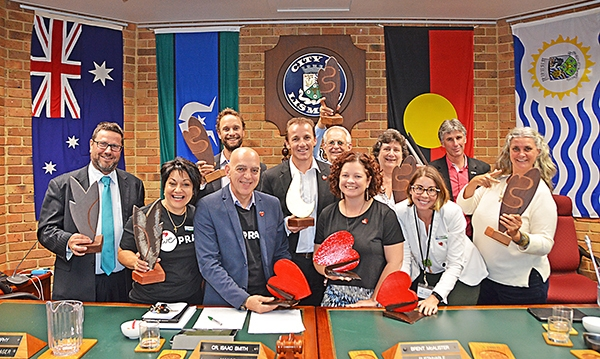 TAFE students surprise Councillors with anniversary trophy